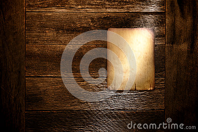 Old Paper Poster Board on Aged Antique Wood Wall