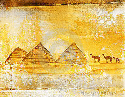 Old paper with pyramids