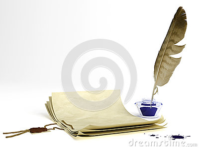 Old paper and quill pen