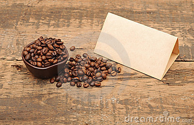 Old paper for recipes and coffee beans