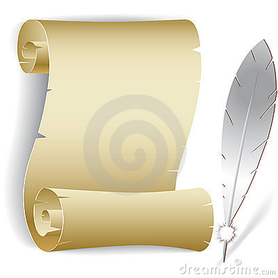 Old paper roll with feather