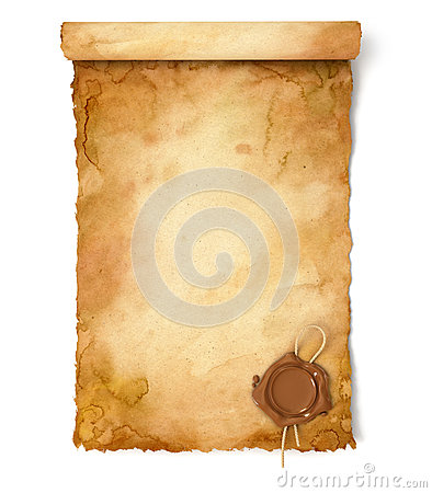 Free Old Paper Scroll With Wax Seal Royalty Free Stock Photo - 36279795