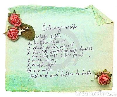Old paper sheet with cooking recipe.