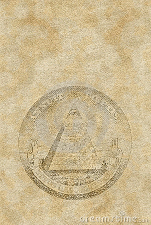 Old paper sheet with pyramid