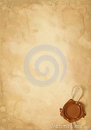 Free Old Paper Sheet With Wax Seal Royalty Free Stock Images - 36279469