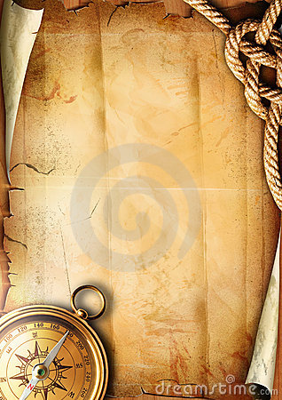 Old paper texture with a compass and rope