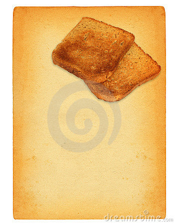 Old paper with toast bread