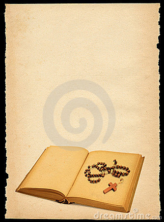 Free Old Paper With Book And Rosary Stock Photo - 2155330