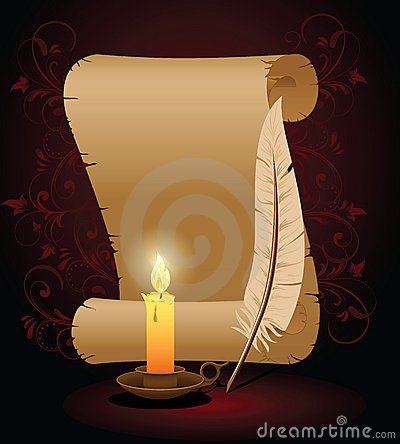 Free Old Paper With Feather And Candle Stock Images - 16231964