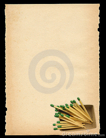 Free Old Paper With Matchbox Motif Royalty Free Stock Photography - 2129857