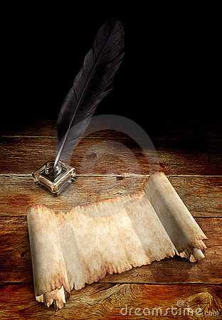 Free Old Parchment And A Quill Stock Images - 8682494