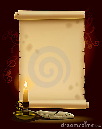 Old parchment with a light