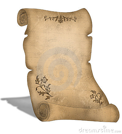 Old Parchment scroll with decorations