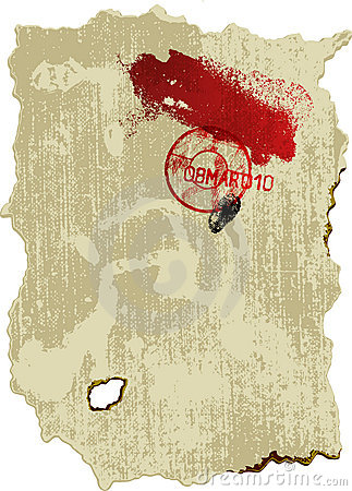 Old parchment with stamp, blood, and fingerprint.
