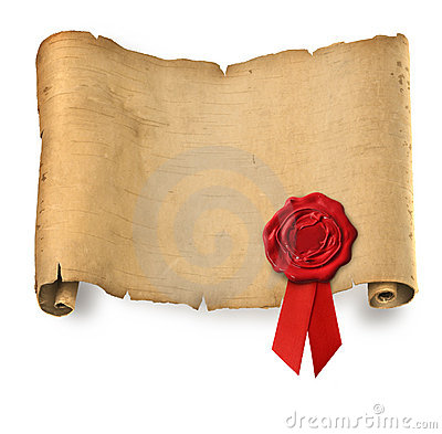Free Old Parchment With Red Wax Seal Royalty Free Stock Photo - 17349605
