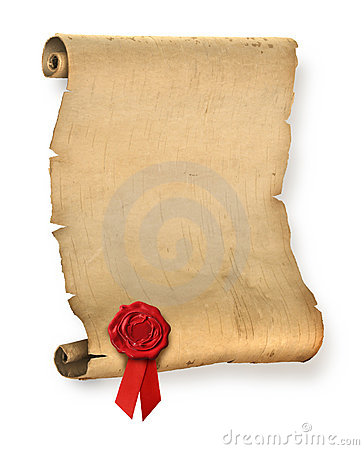 Free Old Parchment With Red Wax Seal Stock Images - 17349654