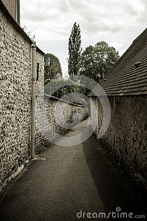 Path between stone houses