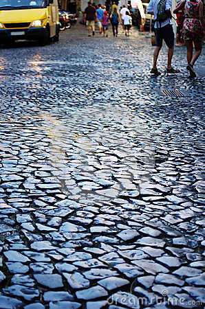 Old pavement in a street