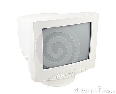Old Pc Crt Monitor Screen isolated white