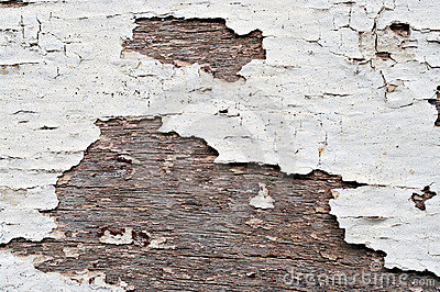 Old peeling paint on wood