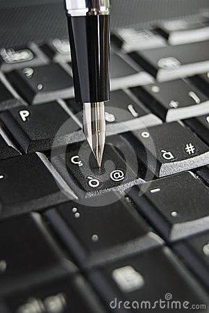 Old pen pressing the mail key