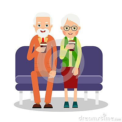 Free Old People Drinking Coffee. Elderly Persons, Man And Woman Sitti Royalty Free Stock Photo - 121409855