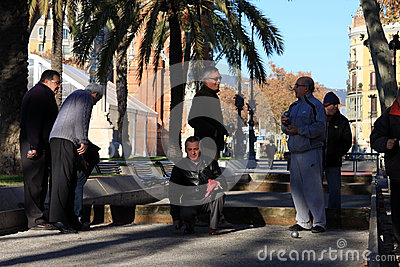 Old people playing Petanque in Barcelona Editorial Stock Image