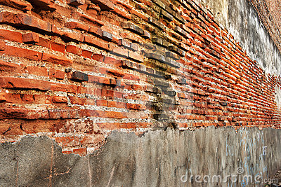 Old perspective brick wall