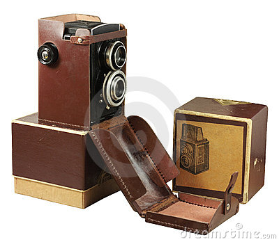 Old photo camera with box and case