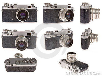Old photo camera in eight position