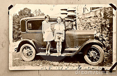 Old Photo Children Car / 1900