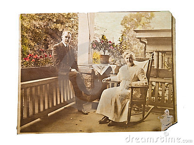 Old Photo of Couple on a Porch