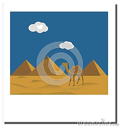 Old  photo with Egyptian pyramids, famous landmark