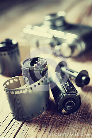 Free Old Photo Film Rolls, Cassette And Retro Camera. Royalty Free Stock Photo - 47012235
