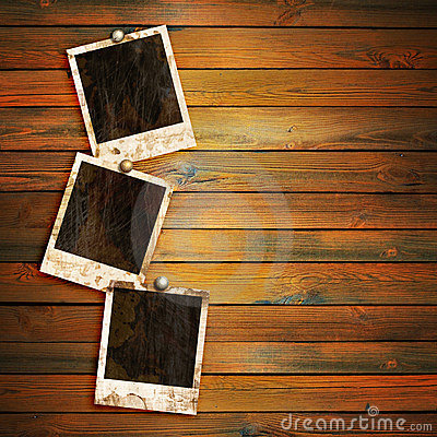 Free Old Photo Frames On Wood Stock Image - 13545051
