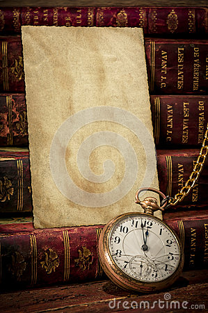 Free Old Photo Paper Texture, Pocket Watch And Books Royalty Free Stock Photography - 25758107