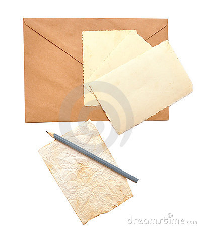 Old photos, envelope and pencil