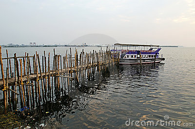 Old pier for boats made of bamboo