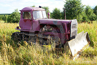 Old pink bulldozer