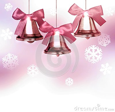 Free Old Pink Christmas Bells With Snowflakes Stock Photos - 62044453