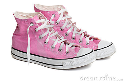 Old pink coloured basketball shoes