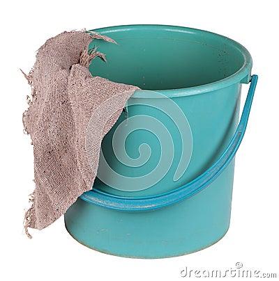 A bucket with a cloth