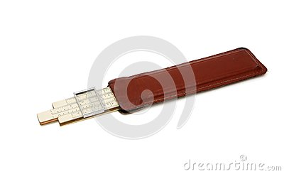 Old pocket slide rule in leather case isolated