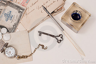 old pocket watch, old ink pen, handwrite letters