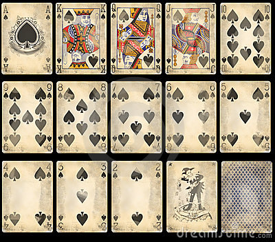 Old Poker Playing Cards - Spades