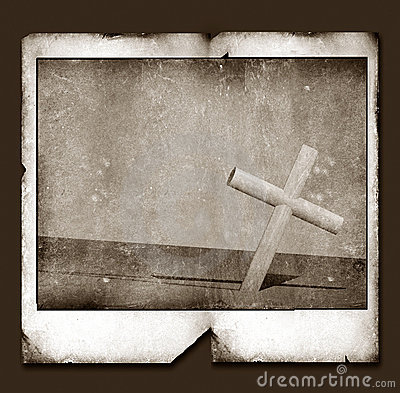 Old Polaroid Frame with Holy cross