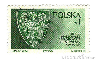 Old polish stamp with eagle