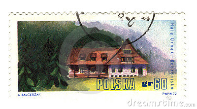 Old polish stamp with eagle shield