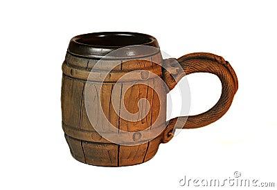 Old polish wooden mug for beer