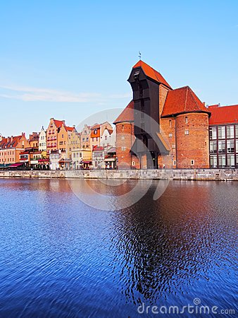 Old Port Crane in Gdansk, Poland Editorial Photography